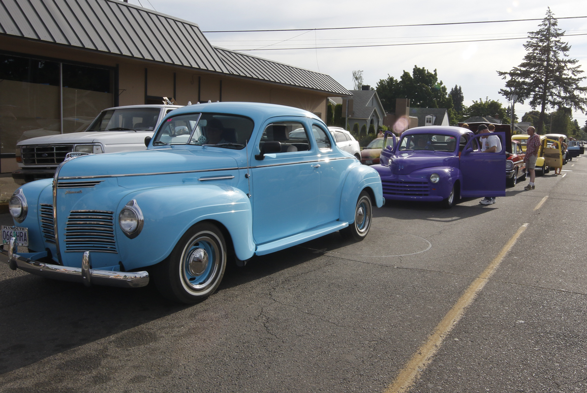 Hundreds of classic cars lined up on 6th Street in Junction City, waiting to begin the Cruise In on the streets of Junction City, Oregon. June 4, 2016.