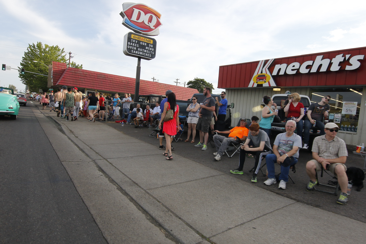 Hundreds of people lined the streets in Junction City, Oregon. for the Function 4 Junction Cruise in, June 4, 2016.